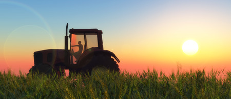 agriculture machinery: illustration of a tractor circulating in wheat field