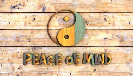 expositor: tabla de madera con el s�mbolo de yin yang