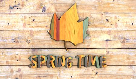 expositor: tabla de madera con el s�mbolo de la primavera