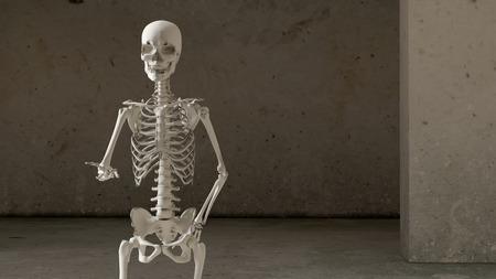 humble: 3D illustration of a skeleton asking for charity Stock Photo
