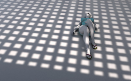 woman lying down: 3d illustration of a woman lying on the floor in a studio with light and shadows