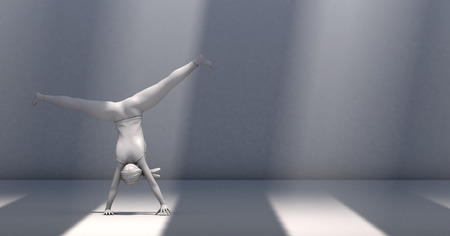 cartwheel: 3d illustration of a woman doing gymnastics in a study with light and shadows Stock Photo