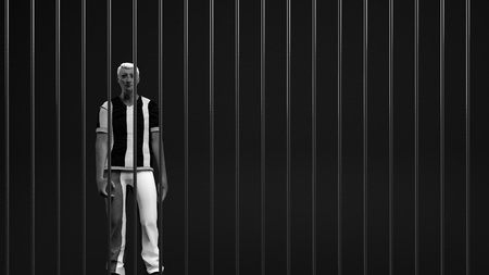 one year old: 3d illustration of a man with a sad face locked in jail Stock Photo