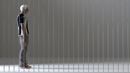detainee: 3d illustration of a man with a sad face locked in jail Stock Photo