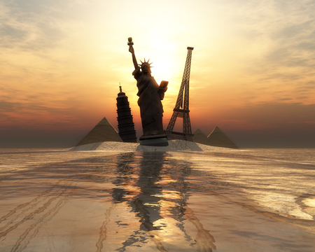 destinations: 3D illustration of sunset and tourist destinations in the world