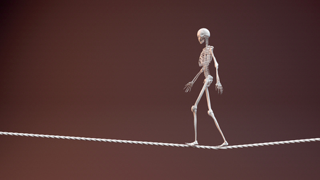 concept of balance and stability, rope and skeleton