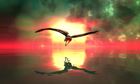 eagle flying: 3d illustration of Eagle flying in the clouds at dawn Stock Photo