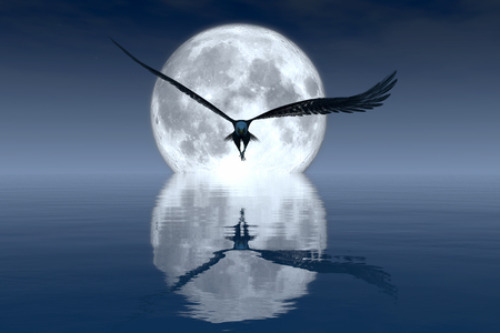 eagle flying: 3d illustration of Eagle flying and moon Stock Photo
