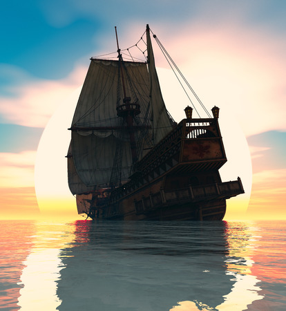 3d sail boat: Old sailboat and sunset 3d illustration