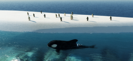 orca: 3d illustration of penguins on an iceberg and orca whale swimming next