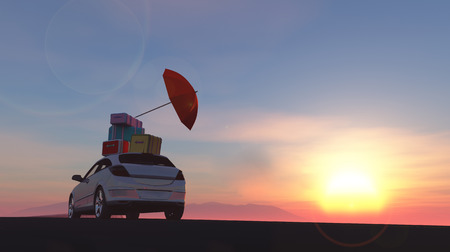 wheat fields: 3d illustration of car loaded with suitcases between wheat fields