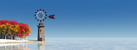 3d illustration of traditional windmill in Mallorca, Balearic Islands, Spain