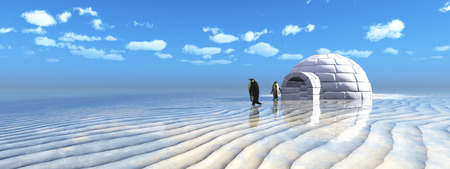 coming out: 3D illustration of penguins coming out of an igloo Stock Photo