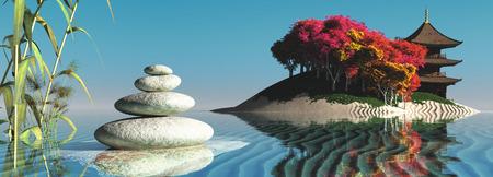 zen stones: zen stones concept in 3d