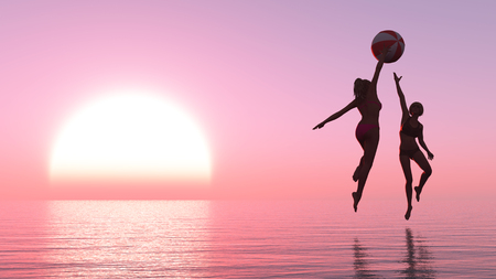amanecer: 3d ilustración de la mujer que hace ejercicio al atardecer