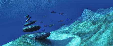 fondali marini: Illustrazione 3d fondo marino con una pietra zen