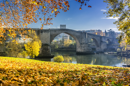 orense: Photo of the roman bridge of orense, galicia, spain Stock Photo