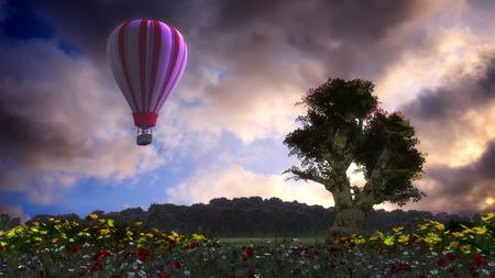 3d illustration of hot air balloon