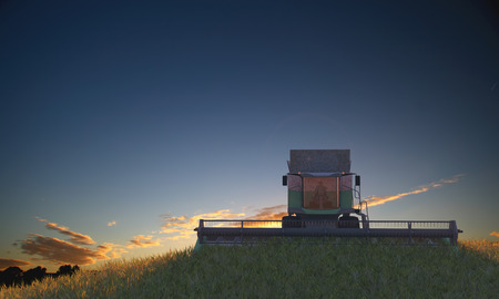 3d illustration of a Wheat Harvester circulating in wheat field