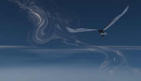 eagle flying: 3d illustration of Eagle flying in the clouds Stock Photo