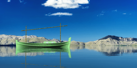 3d illustration of llaud traditional boat in the Balearic Islands, Spain Stock Photo