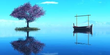 port of spain: 3d illustration of llaud traditional boat in the Balearic Islands, Spain Stock Photo