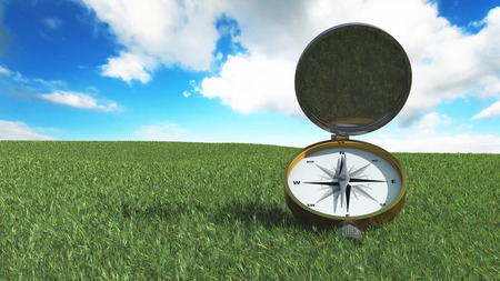 direction magnet: 3d illustration of a compass pointing the north Stock Photo