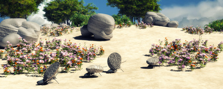 team concept: 3d illustration of concept work, team of ants moving stones Stock Photo