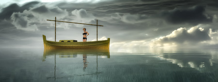 3d boat: 3d illustration of llaud traditional boat in the Balearic Islands, Spain Stock Photo