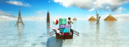 caribbean cruise: 3d illustration of travel with boat and baggage