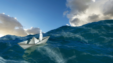 rains: 3d illustration of a paper boat floating in the water Stock Photo