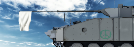 vehicle combat: 3d illustration of a military tank with a white flag on the cannon