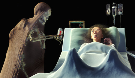 toxic accident: 3d illustration of a skeleton giving poison to a frightened old woman in the hospital