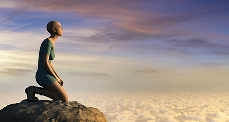 3d illustration od woman relaxing  and sunset Stock Photo