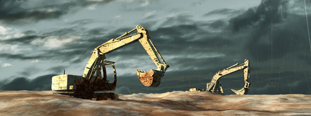 construction machinery: 3d illustration of excavator on a terrain