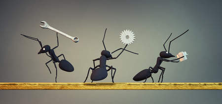 3d illustration of concept work, team of ants moving tools