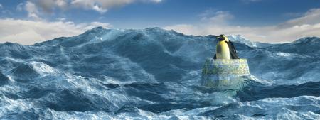 海の真ん中に樽の中のペンギンの 3 d イラストレーション 写真素材