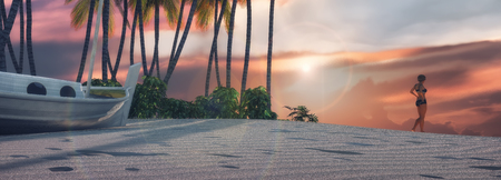 3d illustration of palm trees on a tropical beach and sunset Stock Photo
