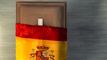 casket: 3d illustration of the flag of spain and casket