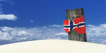 3d illustration of the flag of Norway and casket Stock Photo