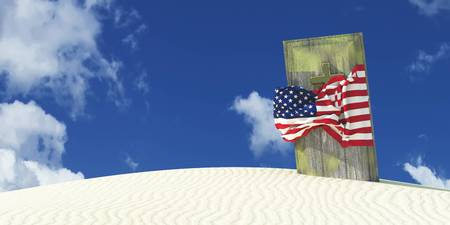 3d illustration of the flag of united states and casket Stock Photo
