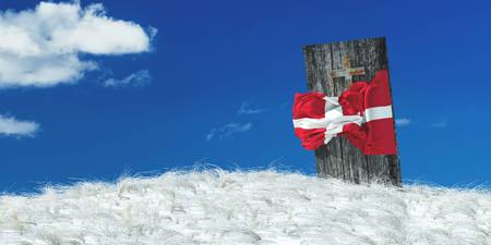 3d illustration of the flag of Denmark and casket Stock Photo