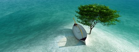 3d illustration of llaud traditional boat in the Balearic Islands, Spain Imagens