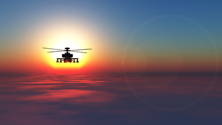 3D illustration of a helicopter war Stock Photo