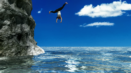 3d illustration of woman jumping from a rock into the sea