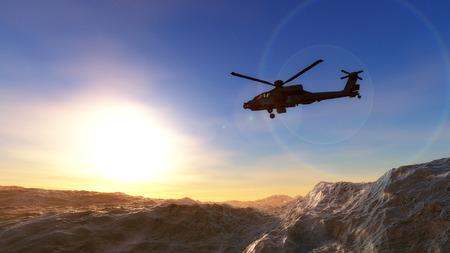 3D illustration of a helicopter war Stok Fotoğraf
