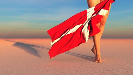 3d illustration of the flag of Denmark