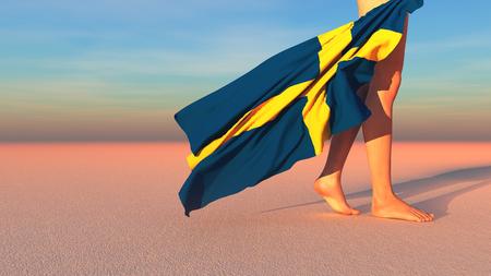 bandera de suecia: 3d illustration of the flag of Sweden Foto de archivo
