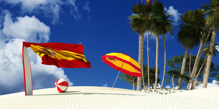 3d illustration of the flag of spain and beach