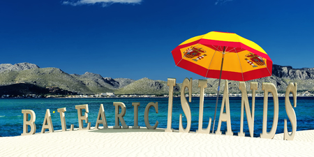 3d illustration of words on the sand indicating balearic islands